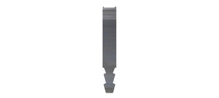 Ausbrechplatte mit Spitze, Stärke 3 pt., Höhe 50,9 mm, Breite 8 mm (VE = 500 St)
